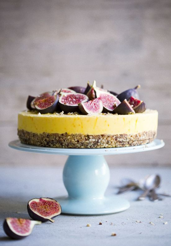 hazelnut cake with froze saffron yoghurt and honey drizzled figs