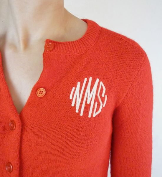 Monogrammed cardigan!  YES!