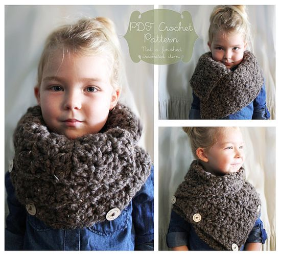 Crochet Pattern: The Aida Scarf-Toddler, Child, Adult Sizes-fall, chunky, warm, tweed, button, convertible, autumn, DIY gift
