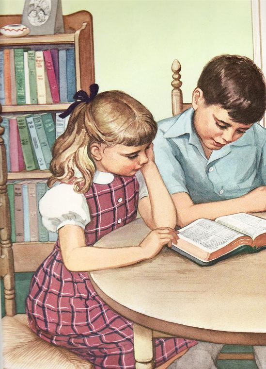 - Sunday School 1950s and 1960s - Children Reading Bible.