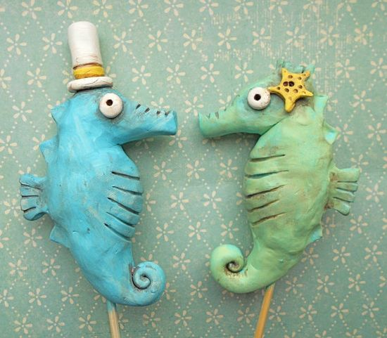 Sea Horses In Love- wedding cake topper