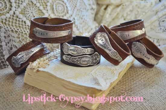 Vintage Hippie, Gypsy, Boho, Cowgirl Hand Stamped Silver Spoon Handle on Vintage Leather Cuff via Etsy.