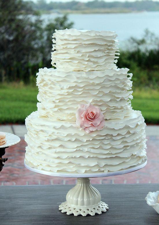 Elegant White Ruffled Wedding Cake