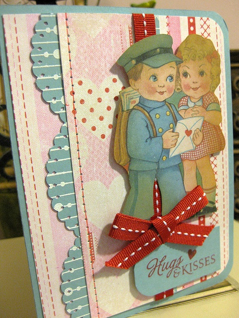 Fantastically sweet handmade Valentine's Day card featuring a darling vintage image. #Valentines #vintage #card #scrapbooking #handmade #card_making