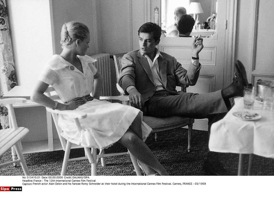 Romy Schneider and Alain Delon wearing the Gucci Horsebit Loafer, 1959