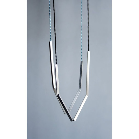 Sterling silver bar and silk cord necklace. Tube necklace. Geometric, modern, minimal, simple necklace. Bar necklace