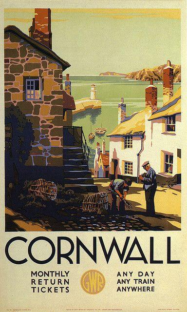 Vintage Cornwall travel poster