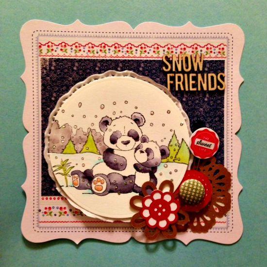 Crafter's Companion card, panda bears, handmade card, spellbinders cards