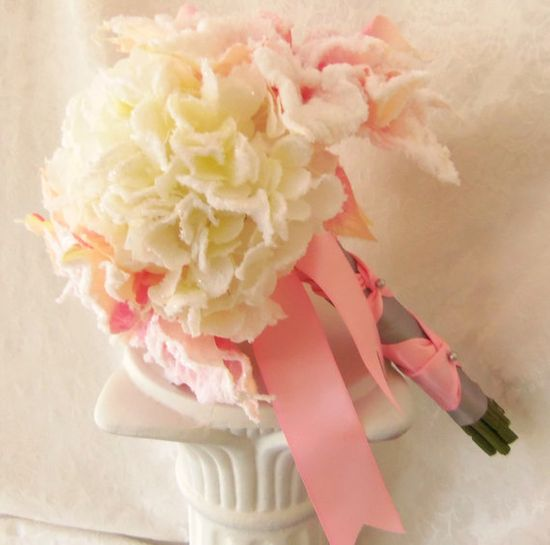Blush Pink  Bouquet  Blush Pink Poinsettia White by 3Mimis on Etsy, $109.00