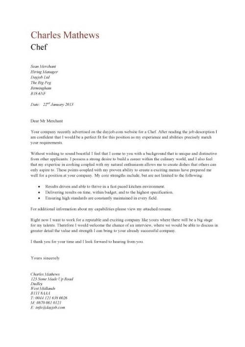 8 Cover Letter Sample Ideas Cover Letter Sample Chef Resume Letter Sample