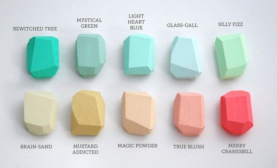great colour palette by Studio Fludd (wooden, handpainted crystal)
