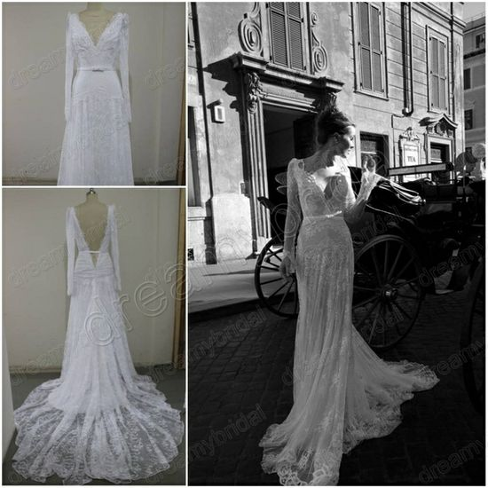 New Arrivals 2013 Sexy Cheap Long Sleeve V Neck Pearl Bead Sheath Vintage inbal dror lace Bridal Wedding Dresses Real samples