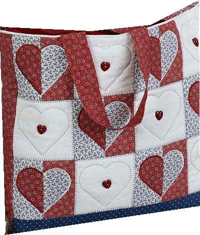 Patchwork: un sac avec des cœurs... - Elkalin.Couture,broderie main machine