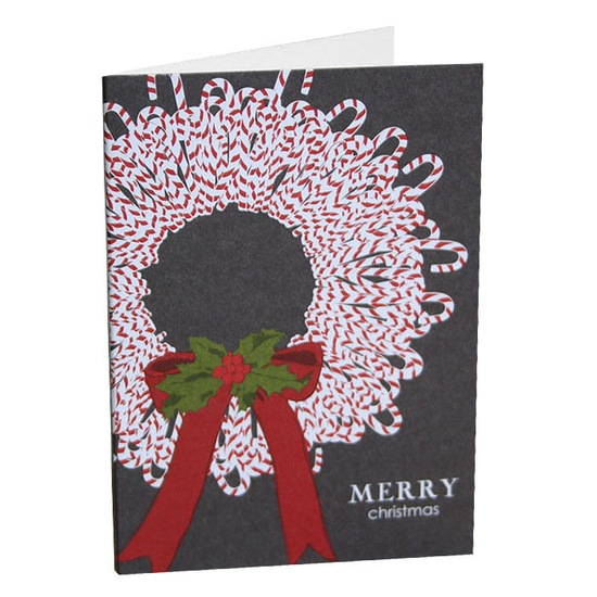 Candy Cane Wreath Christmas Cards