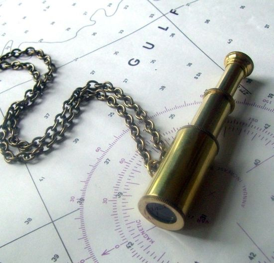 telescope necklace nautical jewelry by ReneeLoughlinDesigns, $28.00
