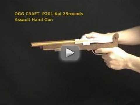25 rounds Rubber Band Assault Hand Gun /OGG CRAFT - handmade ASSAULT HANDGUN