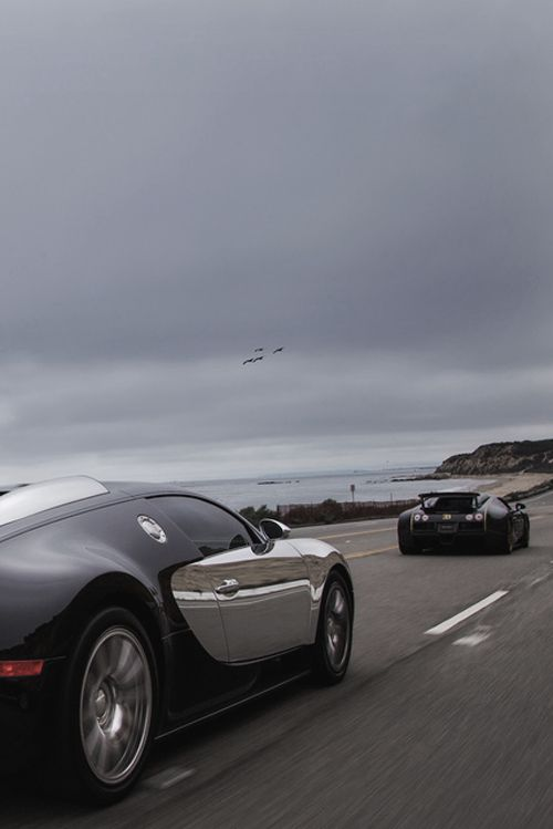 ? Black and silver cars Two Bugs One Lane #bugatti #cars #luxury