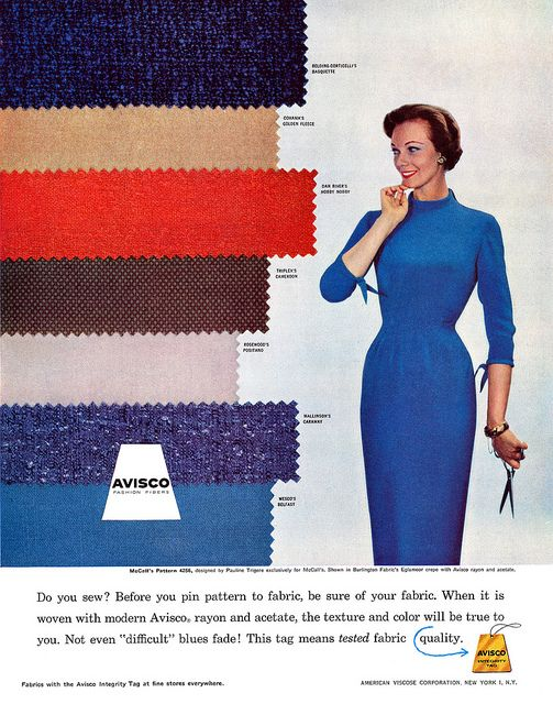 From an Avisco fabric advertisement, 1957 (love her vibrant blue eye shadow). #vintage #1950s #sewing #fabrics #fashion #ads