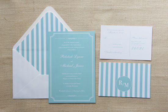 Classic Mint White Wedding Invitations by DawnCorrespondence