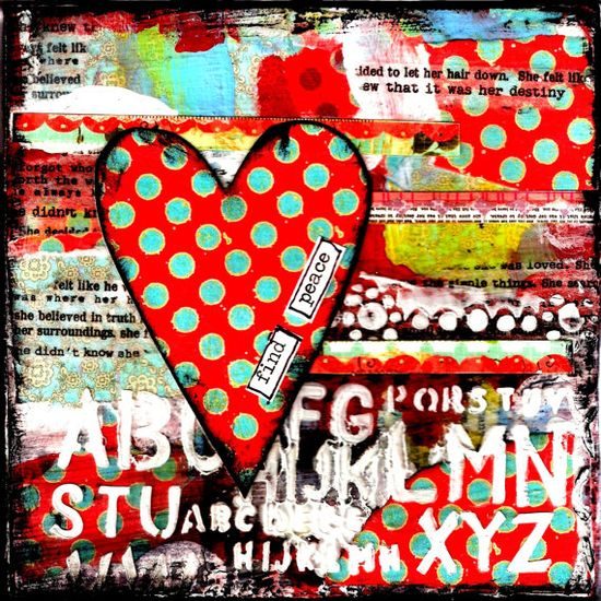 Find Peace heart Mixed Media Print by StudioP3 on Etsy, $10.00