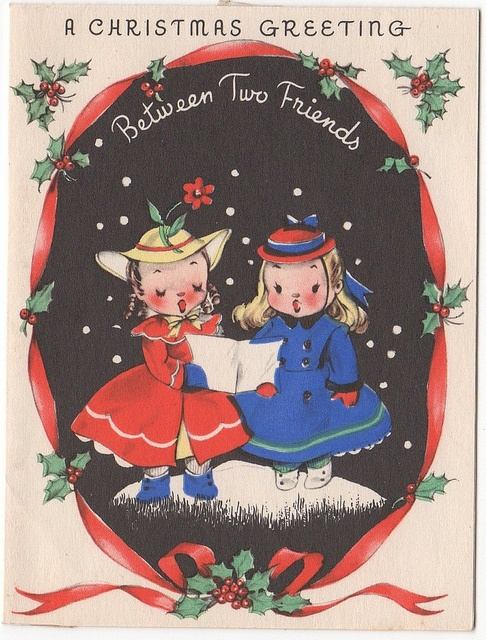 Such a sweetly adorable vintage Christmas card with two beautifully dressed little carolers. #Christmas #card #vintage #cute