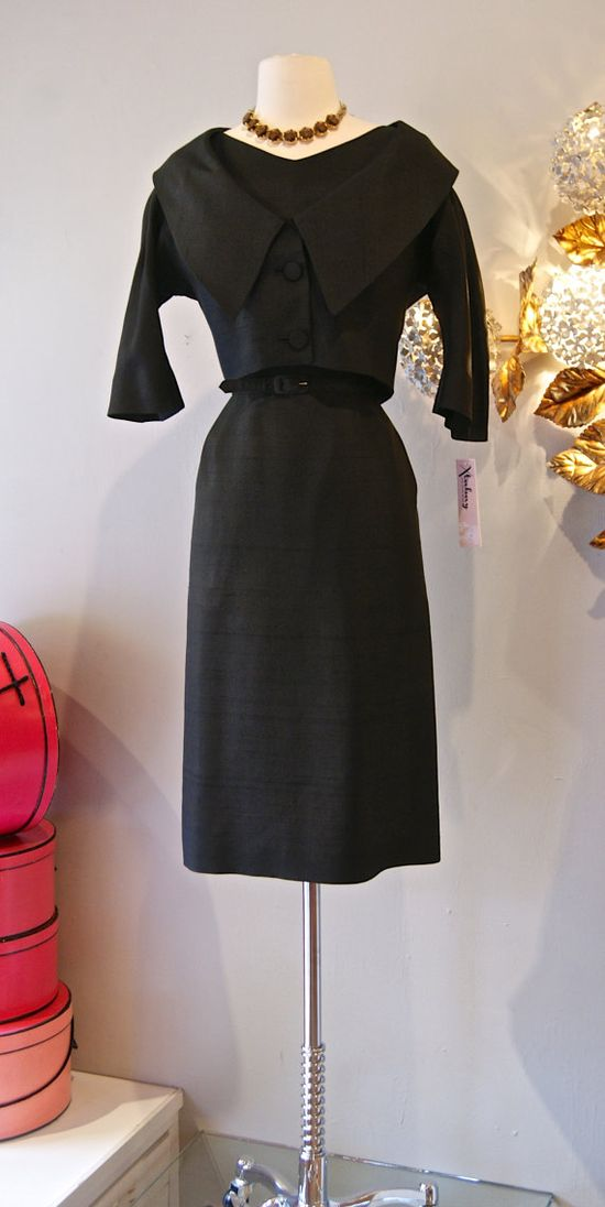 50s Dress // Vintage 1950s Perfect Little Black by xtabayvintage, $198.00