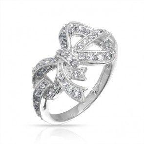 super cute silver dainty bow ring.