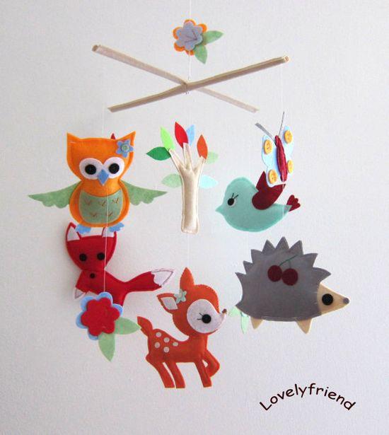 Baby Crib Mobile - Baby Mobile - Felt Mobile - Nursery mobile -  Woodland deer, fox, owl ,bird, hedgehog design (Custom Color Available). $78.00, via Etsy.