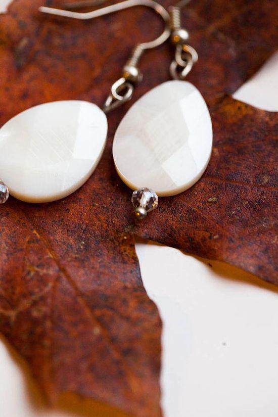 White Shell Bead Drop Handmade Earrings by WhiteLilyDesign, $10.00