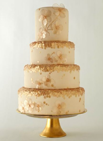 Gold sequin wedding cake {Cake by Cake Art Studio via Project Wedding}