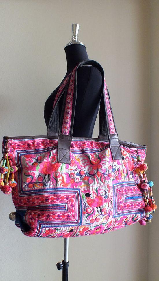 Vintage Handbags Hilltribe fabric Ethnic  Bohemian by shopthailand, $189.99