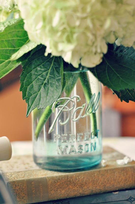mason jar & hydrangea