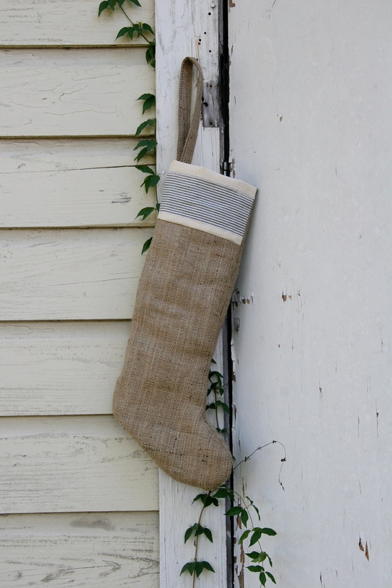 Vintage Ticking and Rustic Burlap Christmas Stocking Plain and Natural. $22.00, via Etsy.