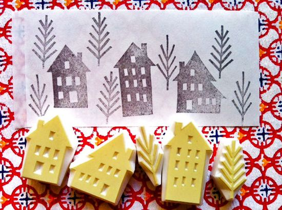 winter street rubber stamp set - hand carved rubber stamp - handmade rubber stamp - trees /houses - set of 5 via Etsy