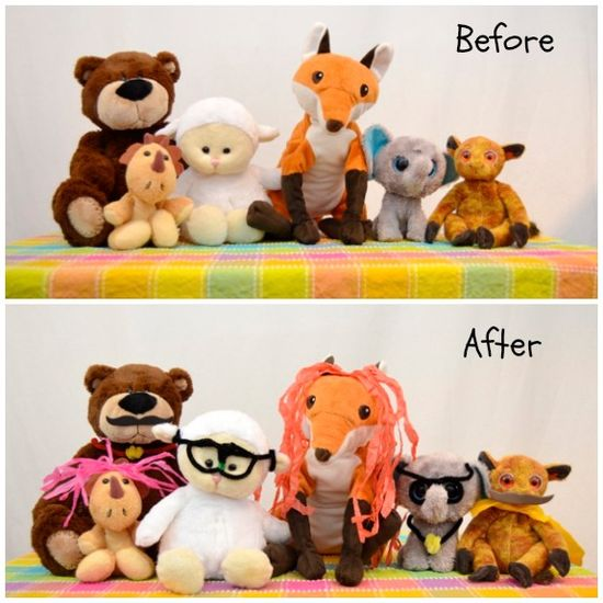 "Rainy Day Fun: Create disguises for stuffed animal ""spies""."