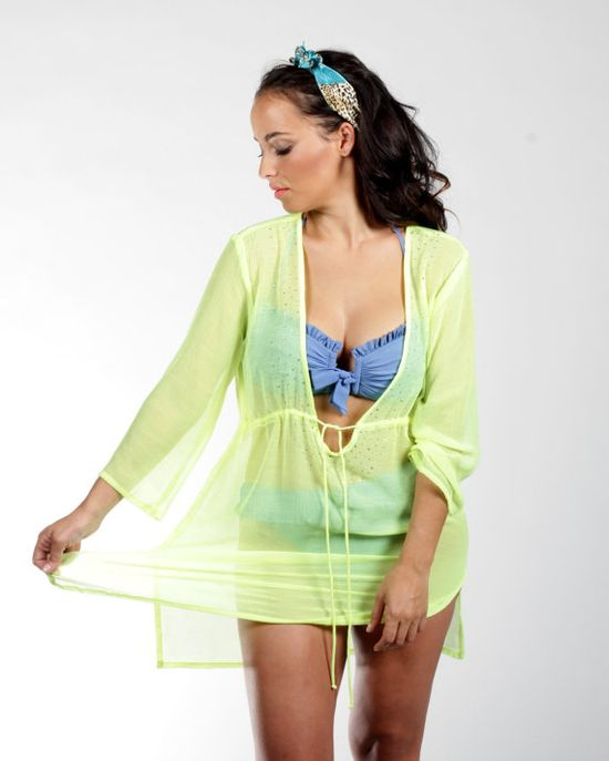 R001 Glowing Color VNeck Tunic Beach Dress Cover Up by AllShop4u, $19.99