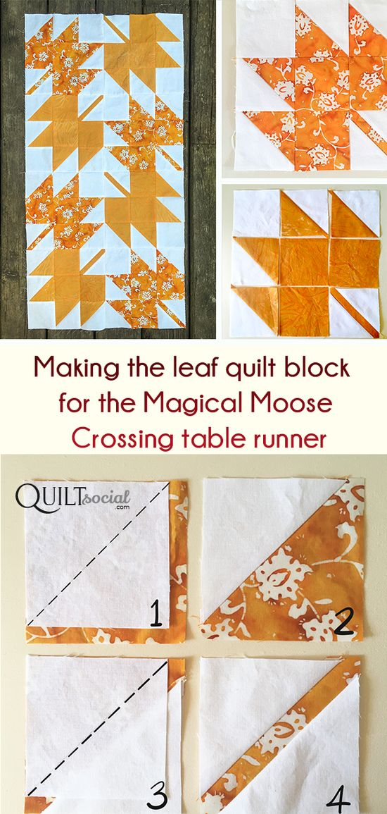 The next step: making the background for the Magical Moose Crossing Table Runner using Banyan Batik Alilah fabric. In this post are instructions for the stem and leaf blocks. Free pattern