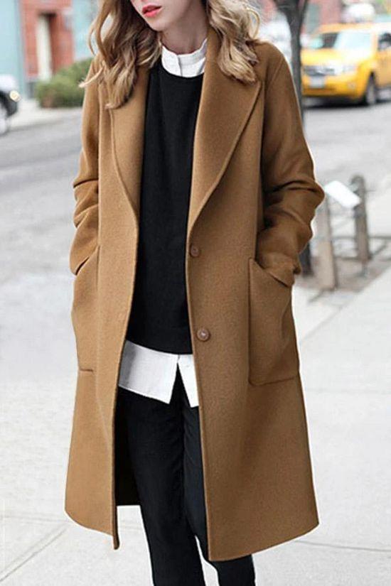 Lapel Solid Long Sleeves Pockets Coat – immorgo