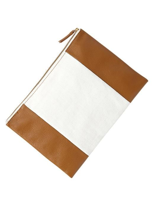 canvas and leather clutch / gap