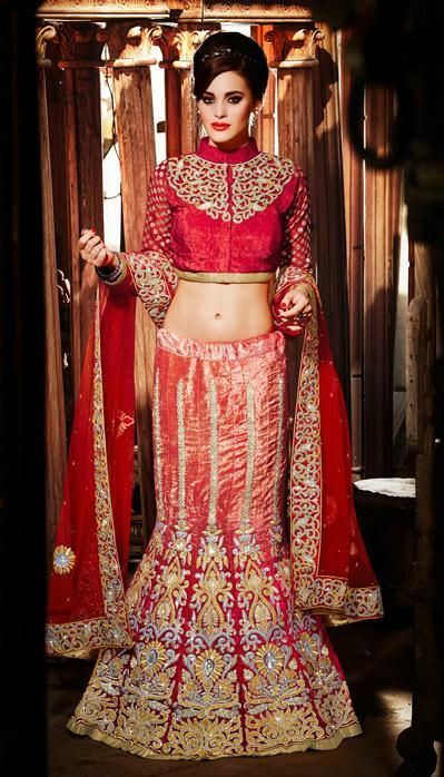 USD 647.37 Orange Velvet A Line Zardosi Work Designer Wedding Lehenga Choli    27753
