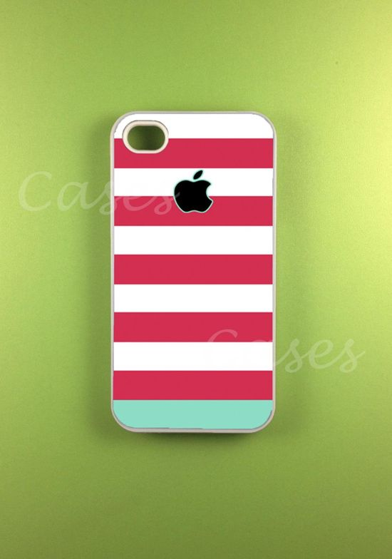 Iphone 4 Case - Pink Blue Strip Iphone