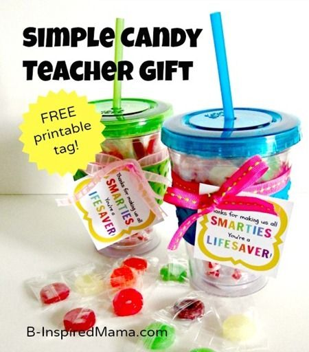 Do you give teachers thank you gifts?   Here is a fun and simple candy teacher appreciation gift with a free printable tag from B-InspiredMama.com.