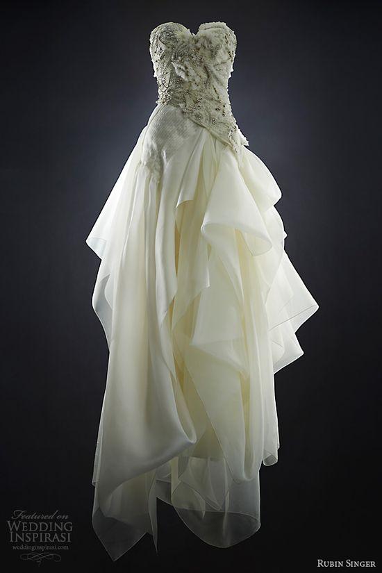 rubin singer bridal 2014 lucinda strapless wedding dress draped skirt