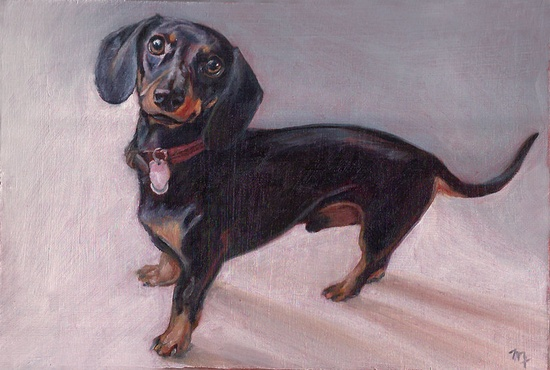 """{Miniature Custom Portrait} custom 4x6"""" painting of your pet; love the doxie she did!"""