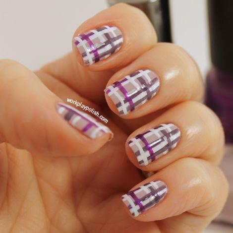 Purple Plaid mani...