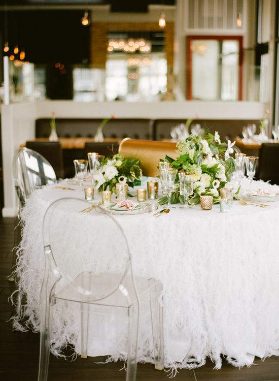 feather table covering // photo by White Loft Studio // styling by Valentine // flowers by Petal Floral Design // view more: ruffledblog.com/...