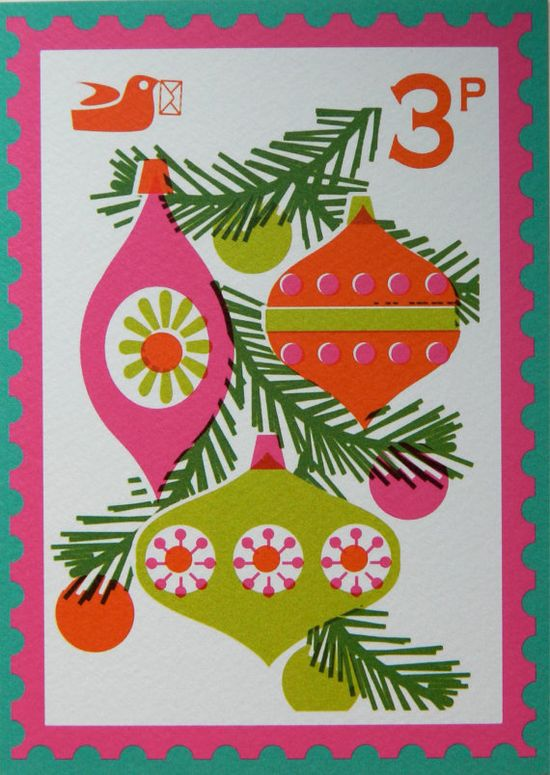 Vintage Style Christmas Stamp Postcard by alice apple - Baubles
