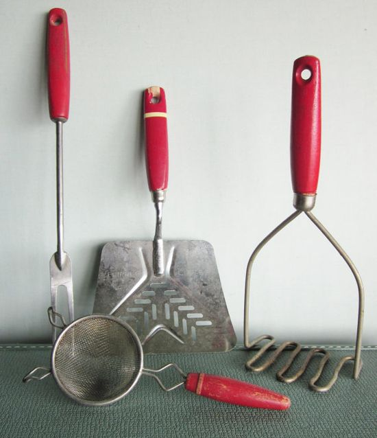 Vintage red handle kitchen tools instant by SWEPTinFROMtheSEA, $20.00