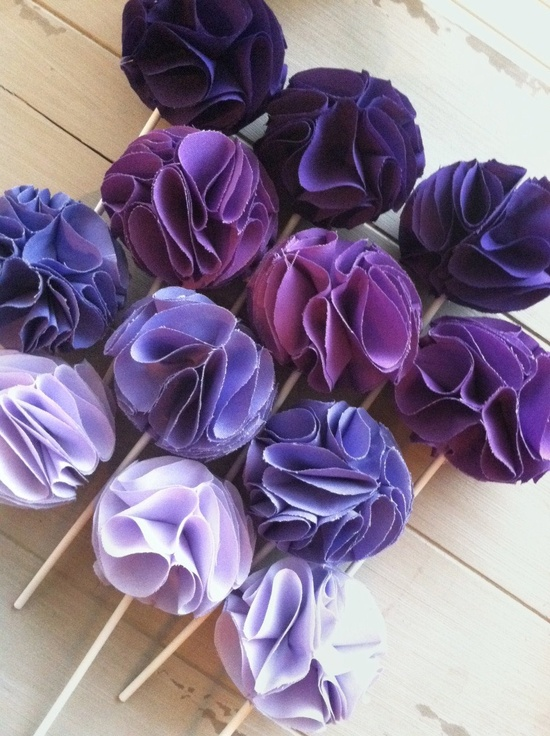 Ombre Fabric Cupcake Toppers- Purple Cupcake Party Decorations.