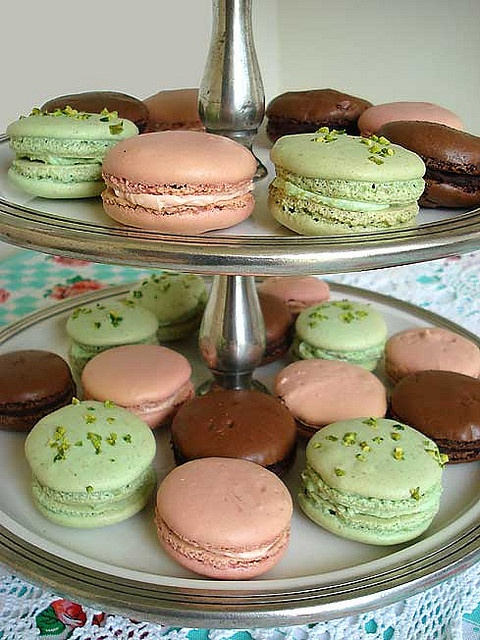 chocolate, rose and pistachio macarons